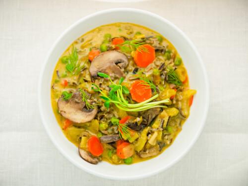 creamy wild rice mushroom soup with peas