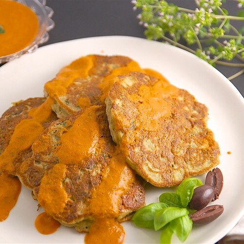 Savory Eggplant Pancakes with Roasted Pepper Sauce