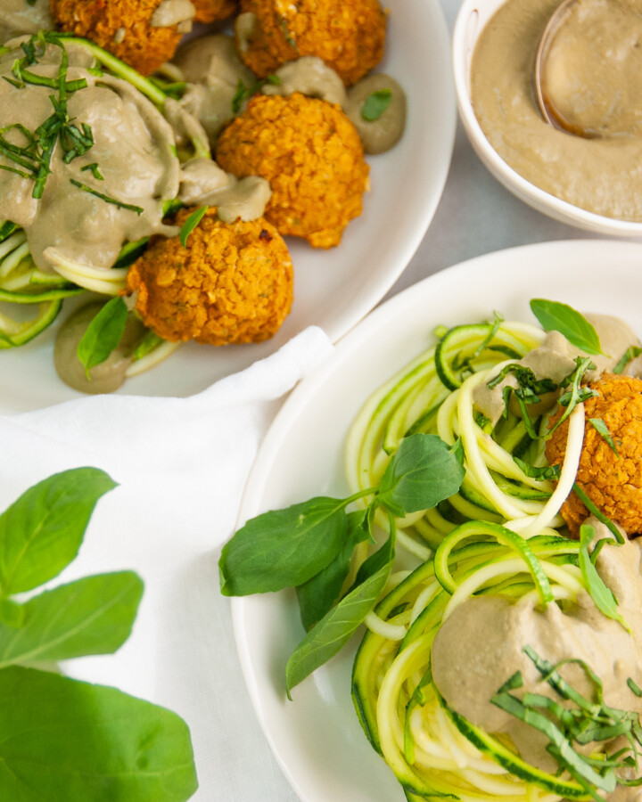 Chickpea Meatballs over Zucchini Noodles with Cashew Basil Sauce