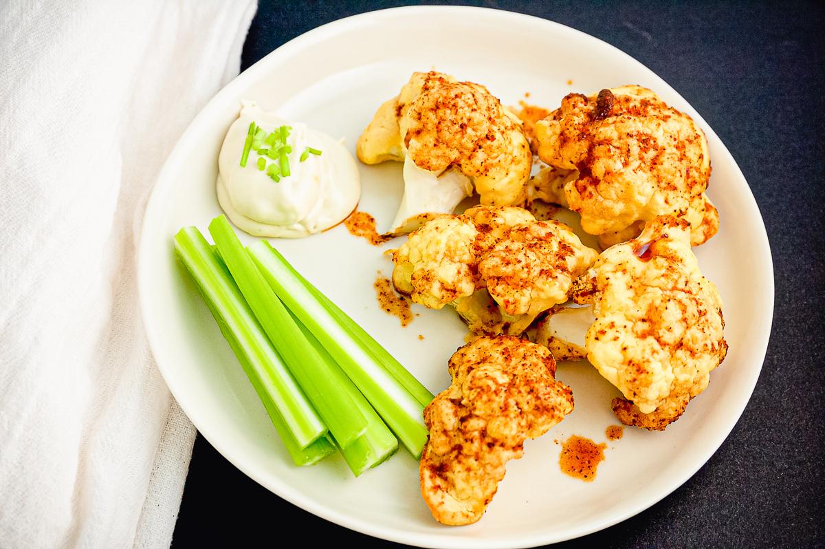Spicy Cauliflower  and dip