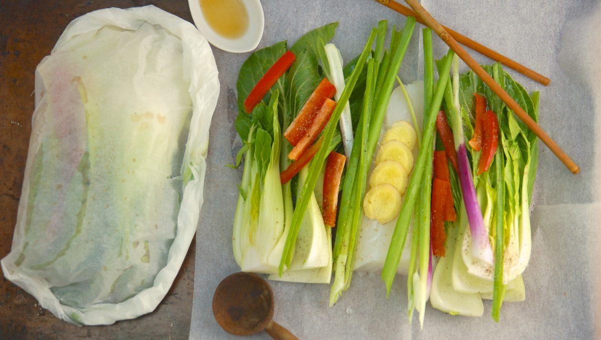 Asian Cod Parcels with Bok Choy
