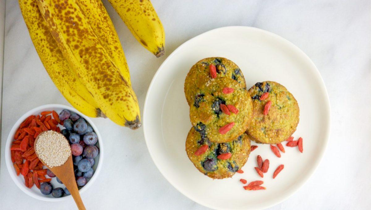 Blueberry Goji Banana Muffins 3