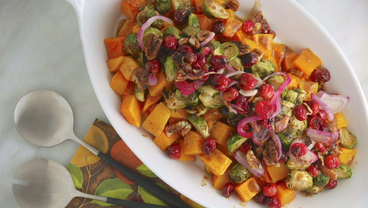 Maple Dijon Roasted Brussels Sprouts & Squash